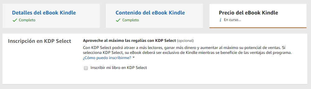 inscripción KDP Select