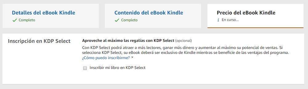 inscripción KDP Select